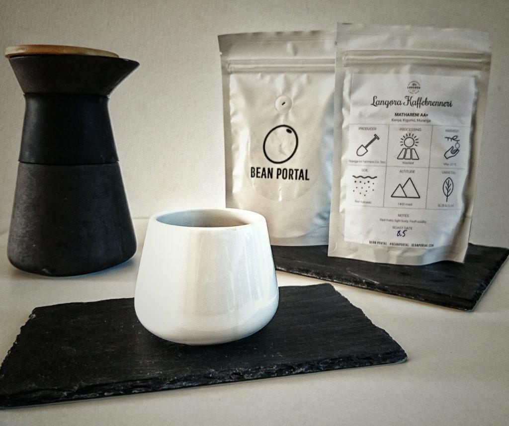 Langøra kaffe i bean portal boks.