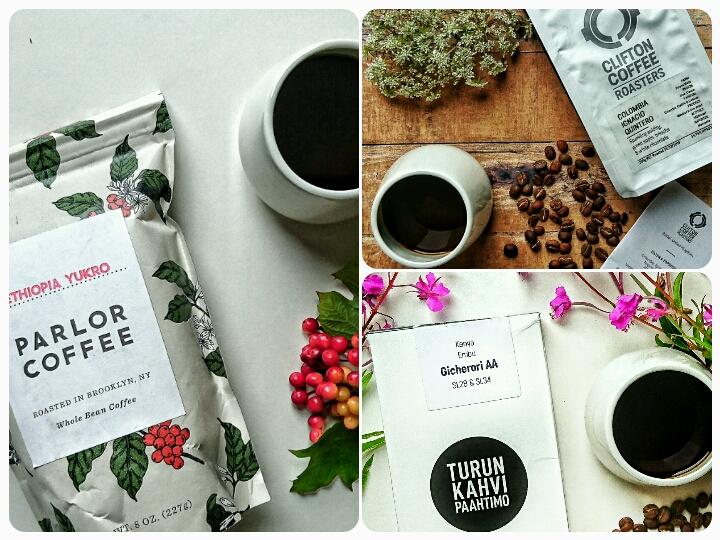 Coffeevine boks i juli måned med kaffe fra risterier i Usa, England og Finland.